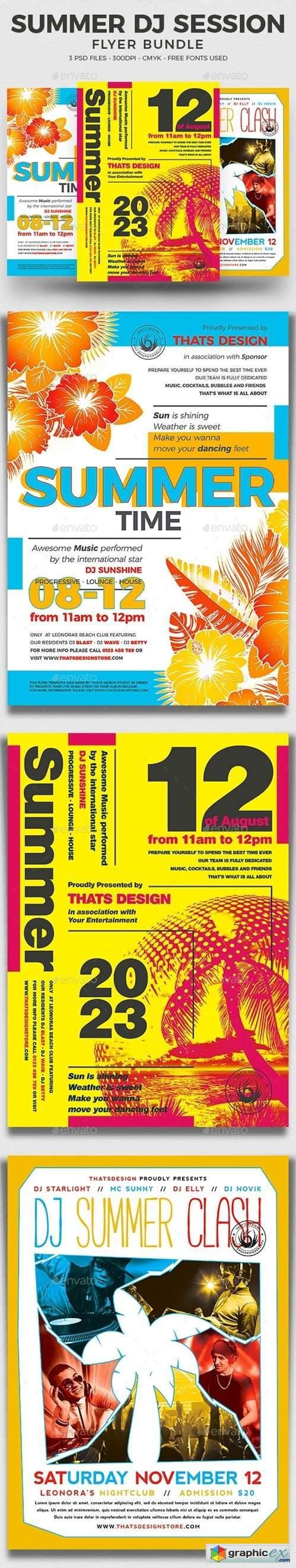 Summer DJ Session Flyer Bundle
