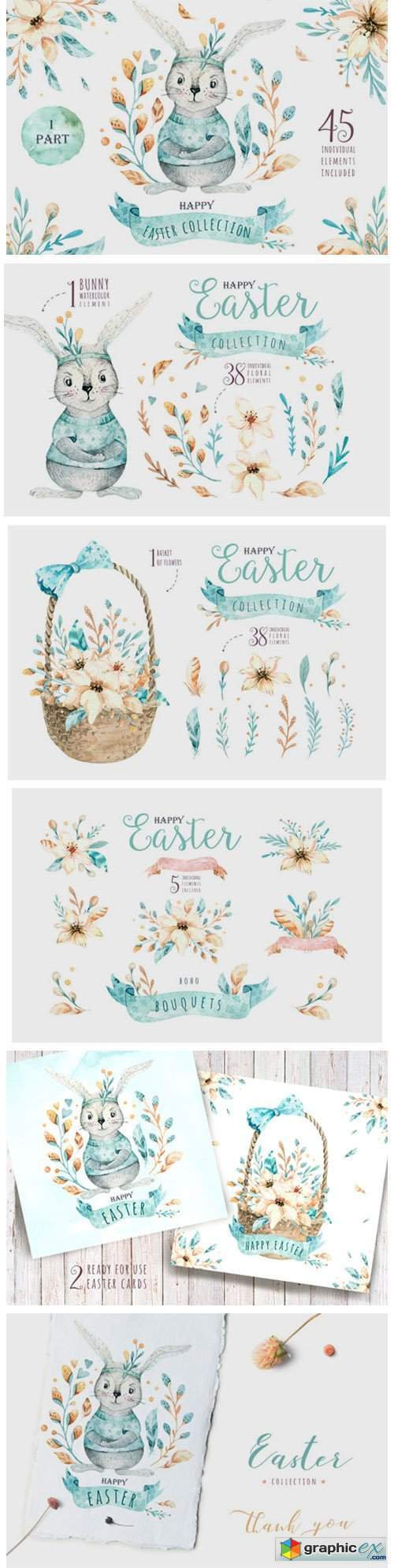 Easter Cute Bunny I. Watercolor Set