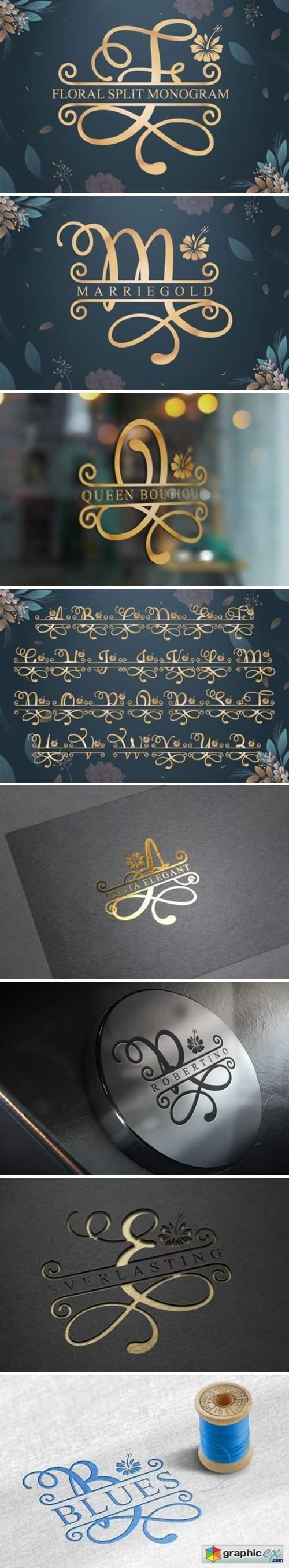 Floral Split Font