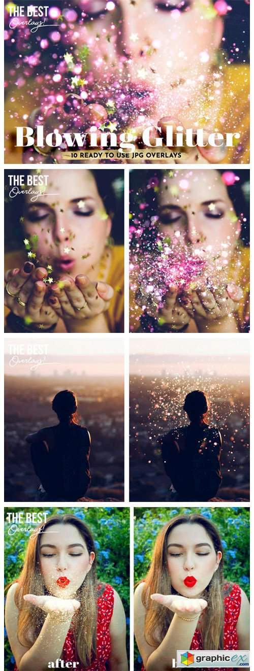 10 Blowing Glitter Photoshop Overlays
