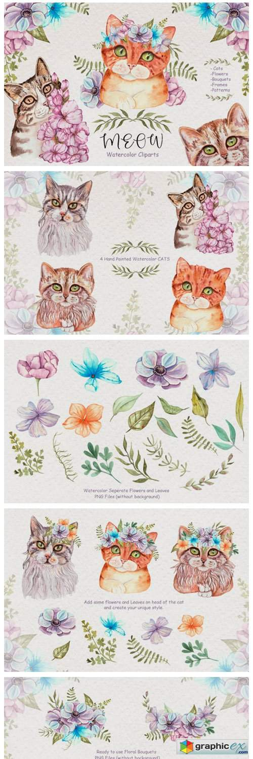 Watercolor Cats and Flowers 3776752