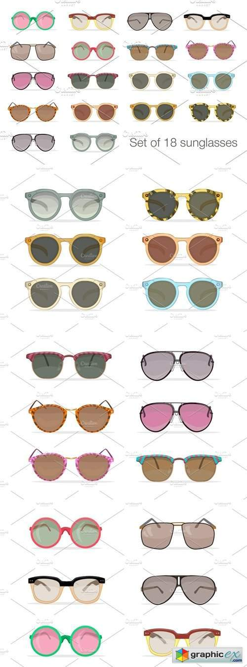 Set of 18 hipster sunglasses