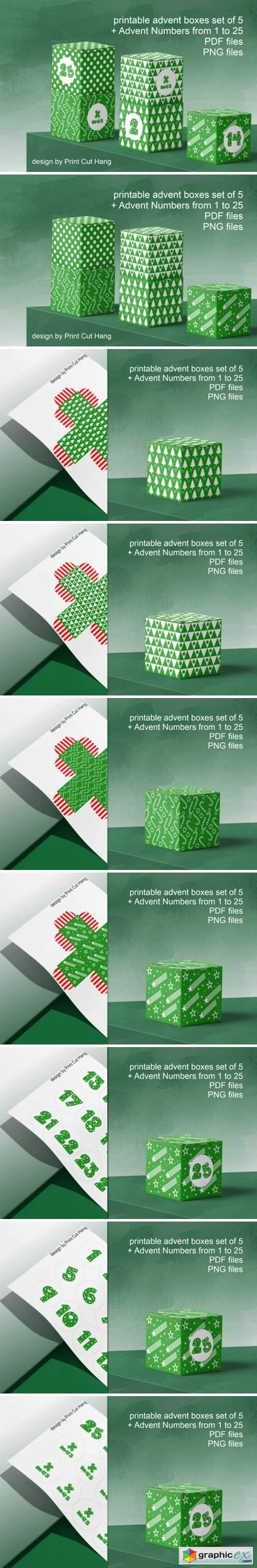 Green Advent Cube Boxes PDF Templates