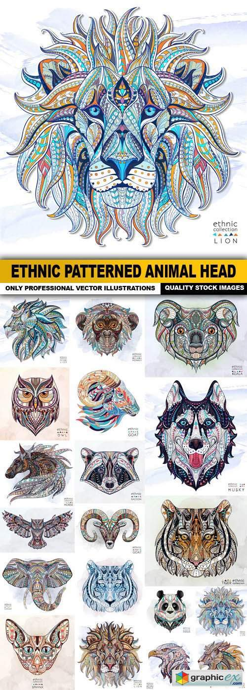 Ethnic Patterned Animal Head - 19 Vector
