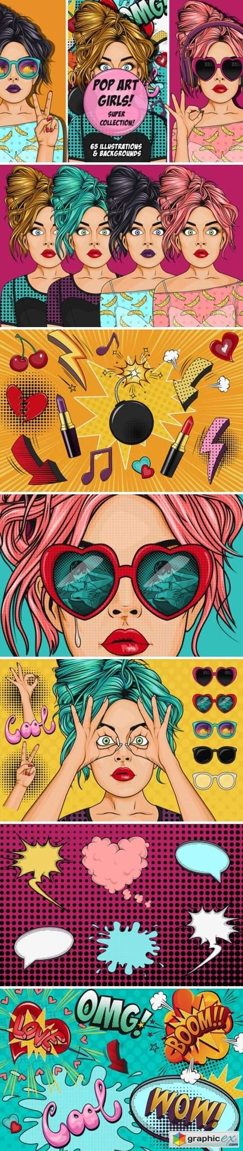Comic Style Pop Art Girls