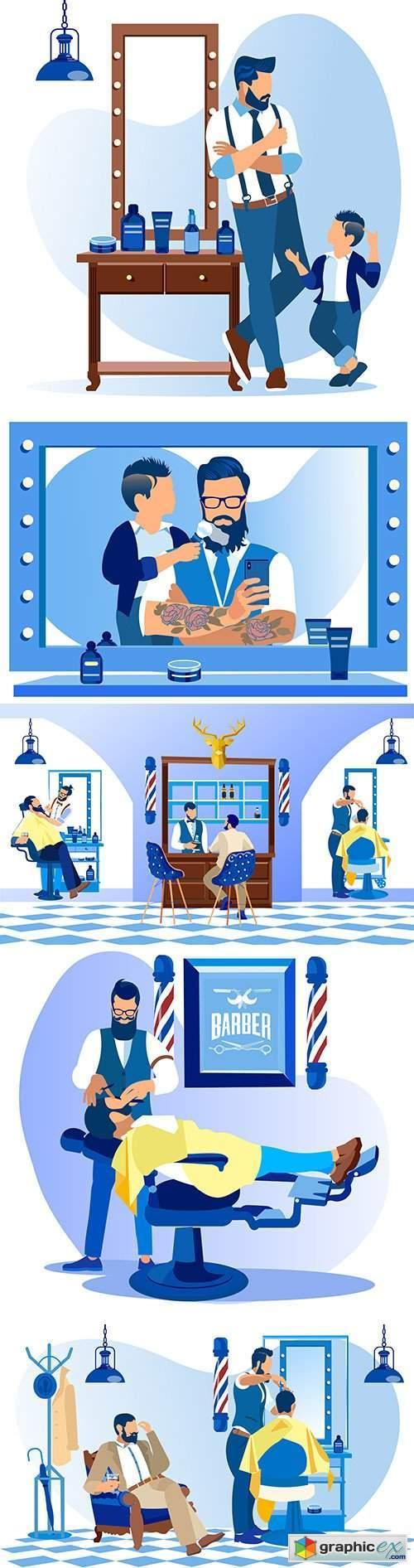 Professional beauty salon, men 's hair salon illustration