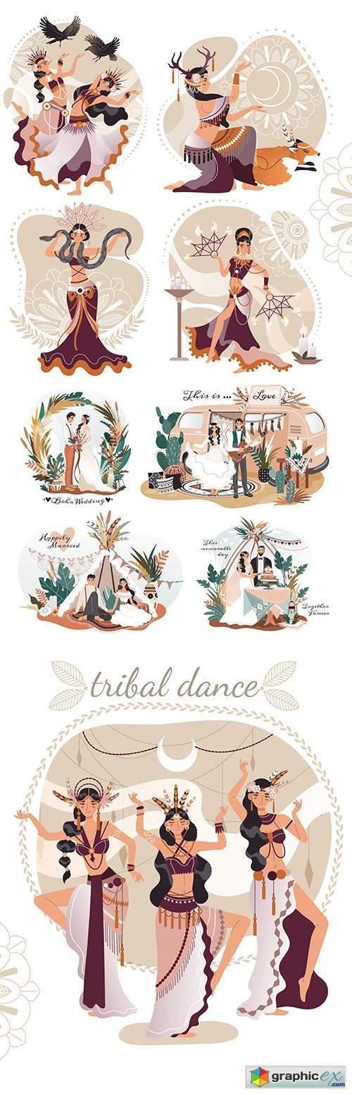 Boho-style wedding and beautiful female ritual dancing illustration