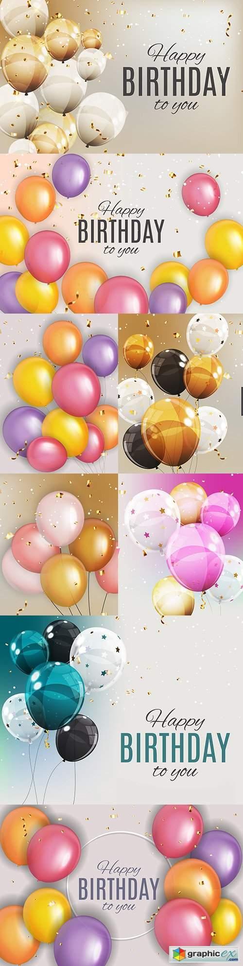 Happy birthday holiday invitation realistic balloons 12