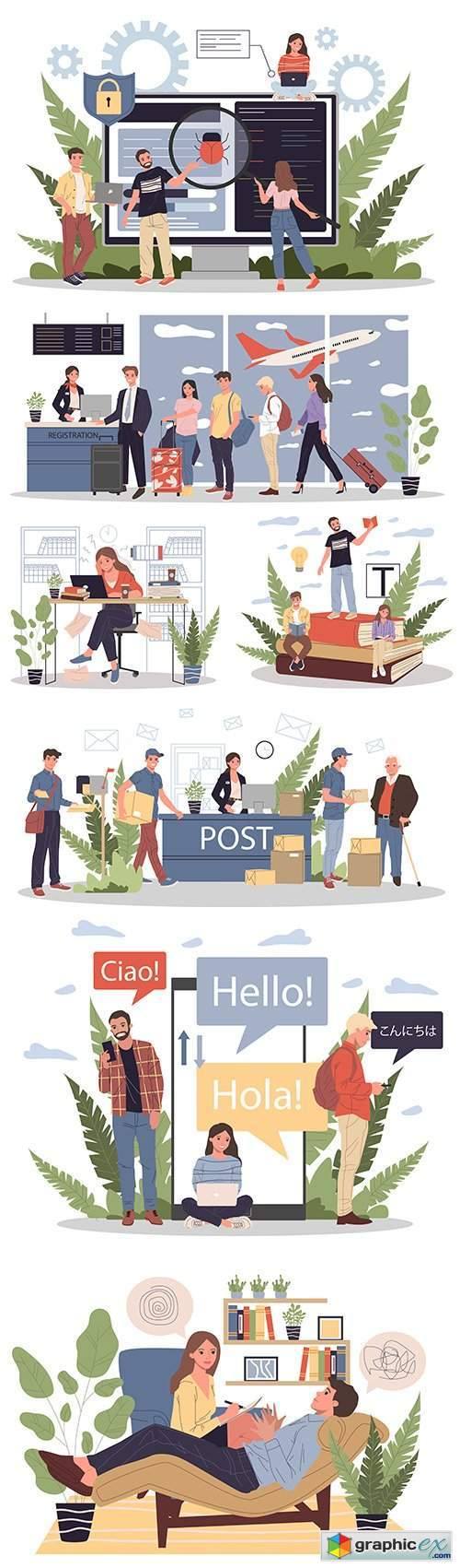 Happy people work in office with flat design illustration