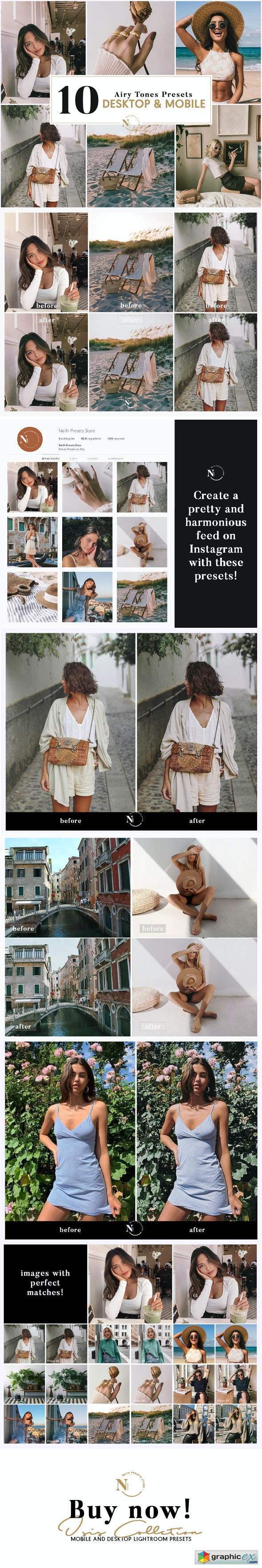 10 Lightroom Presets Desktop & Mobile Isis Airy Tones Collection