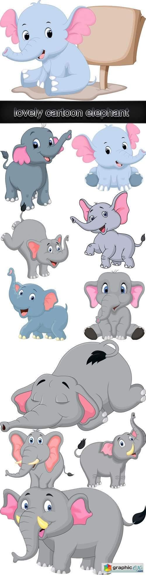 Lovely cartoon elephant vector