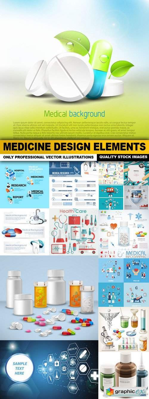 Medicine Design Elements - 15 Vector