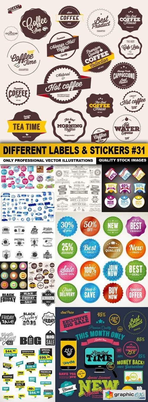 Different Labels & Stickers #31 - 12 Vector