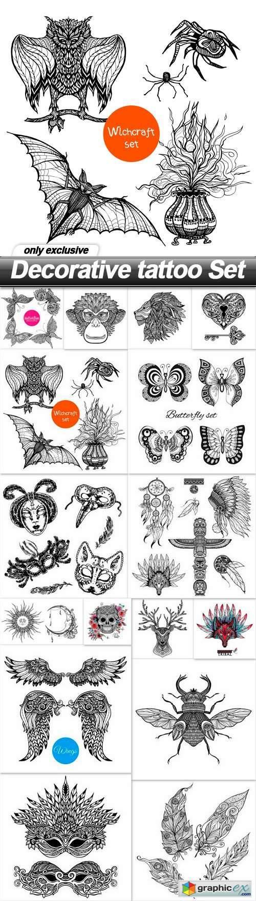 Decorative tattoo Set - 16 EPS