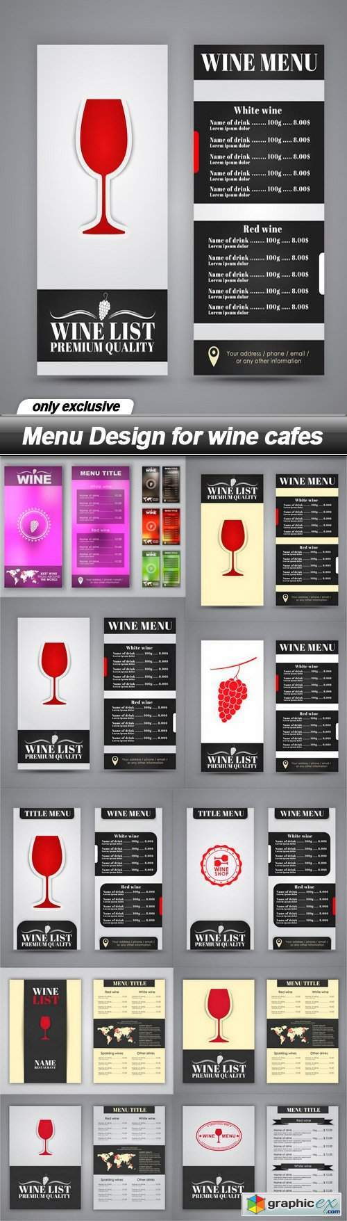 Menu Design for wine cafes - 10 EPS