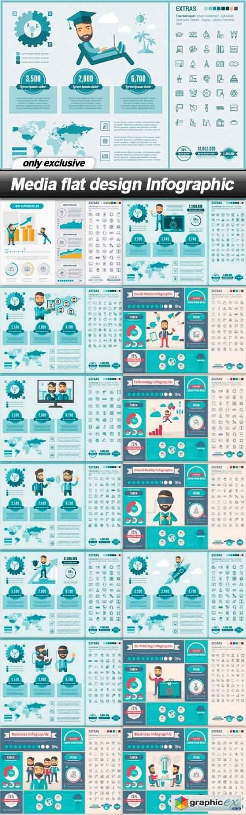 Media flat design Infographic - 15 EPS