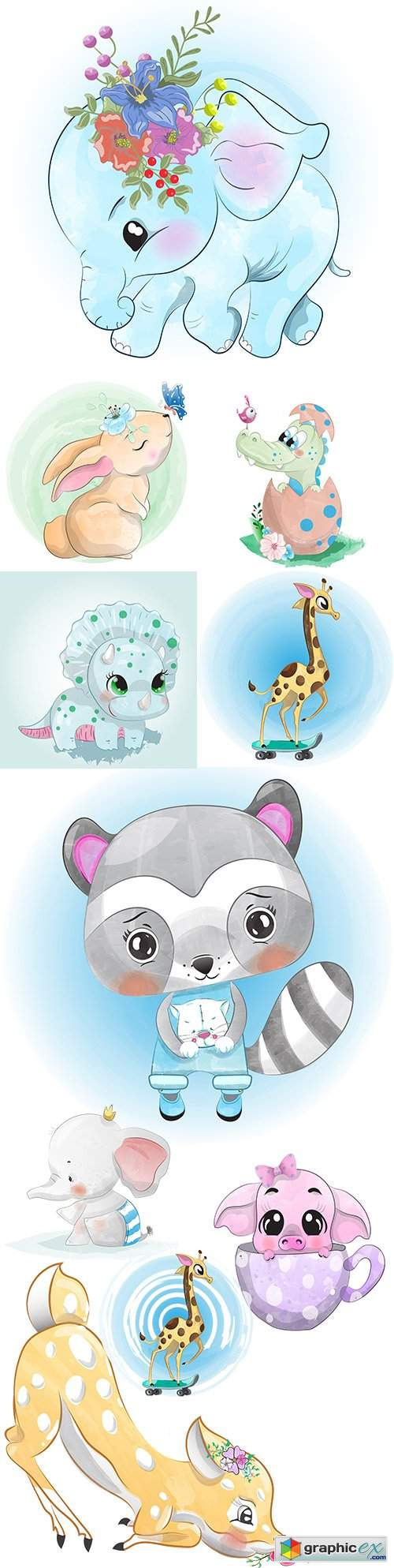 Cute baby animals watercolor drawing illustration