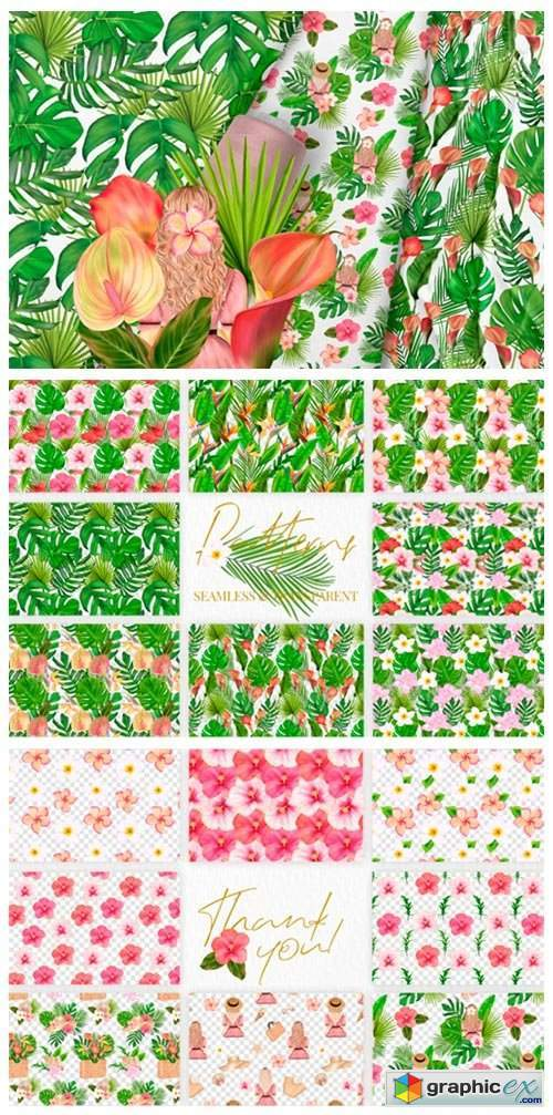 Exotic Tropical Seamless Patterns Summer