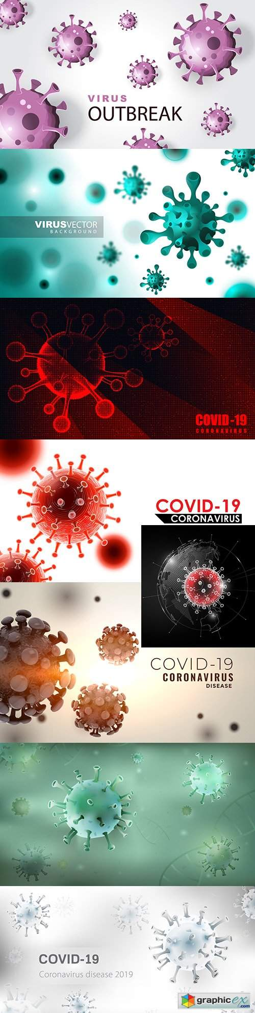 Coronavirus infection with 3d viral cell background