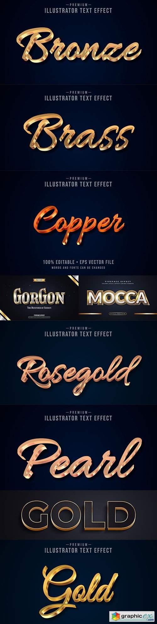 Editable font effect text collection illustration design 70