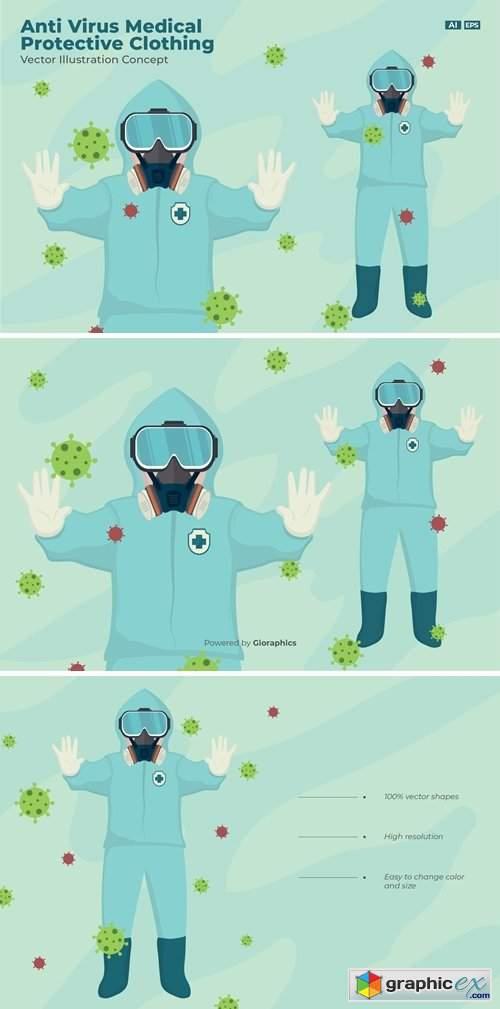 Corona Virus Warning & Men Wearing Protective Suit