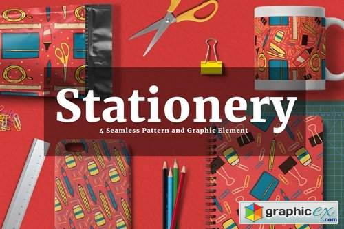 Stationery Seamless Pattern and Graphic Element