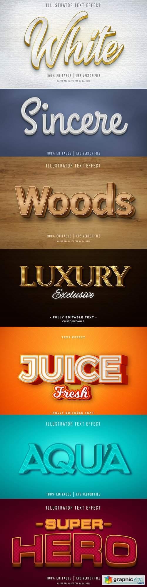 Editable font effect text collection illustration design 69
