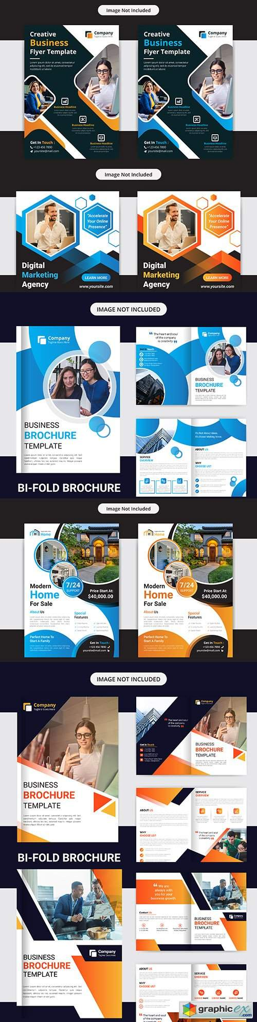 Business flyer and corporate double template brochure