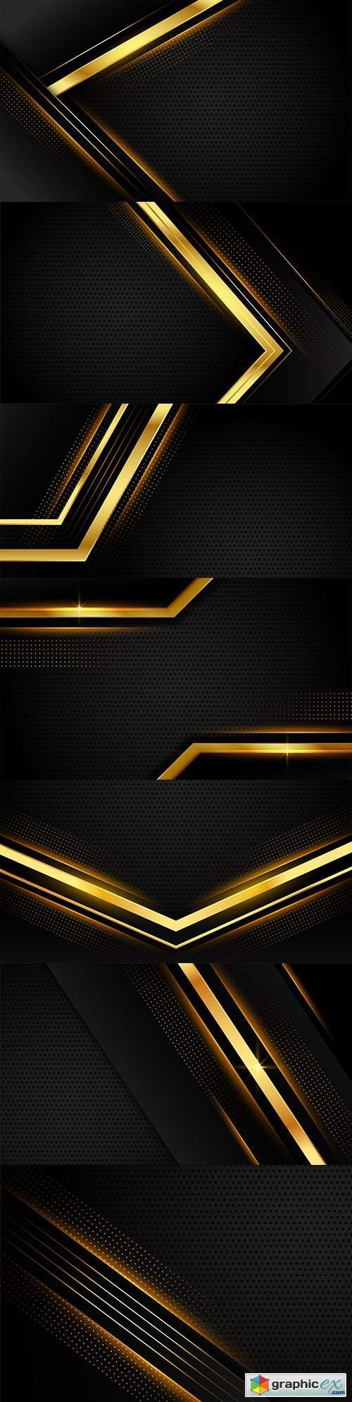 Shiny gold geometric lines black carbon background