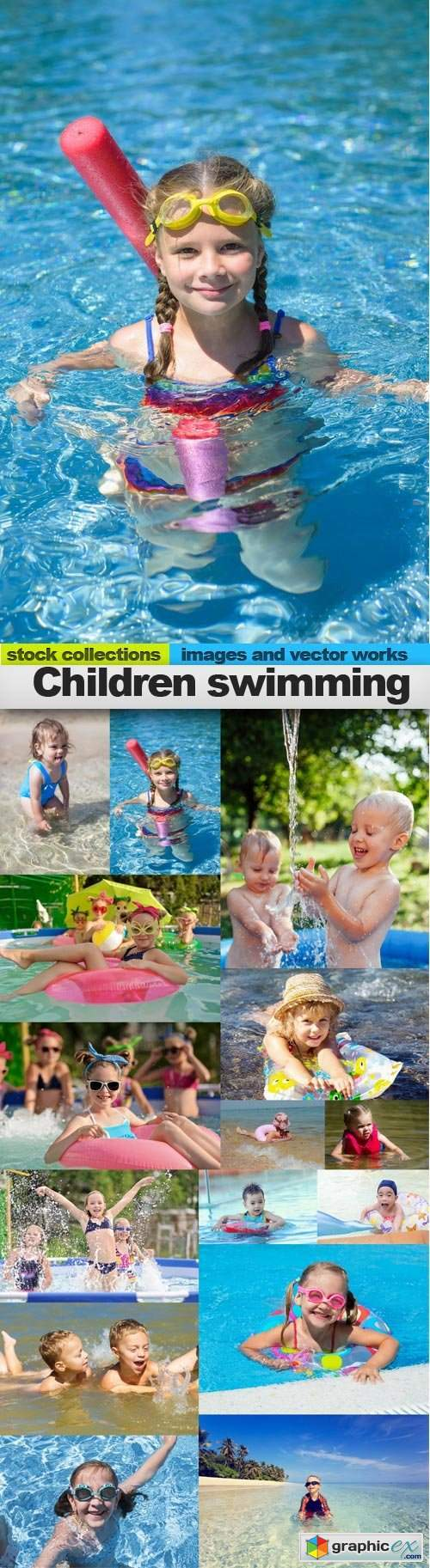 Children swimming, 15 x UHQ JPEG