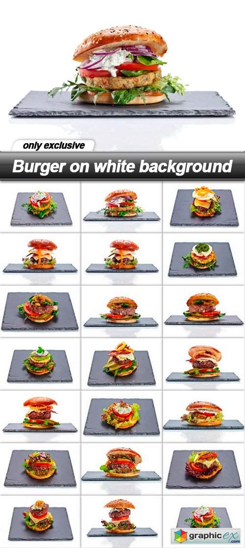 Burger on white background - 20 UHQ JPEG