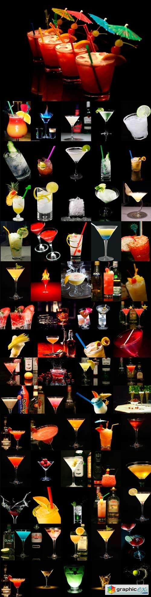 Multi-colored cocktails on a dark background - 3