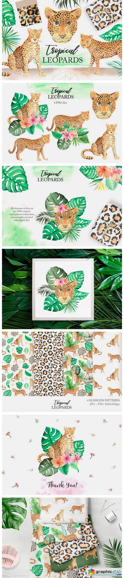 Watercolor Leopards in the Jungle