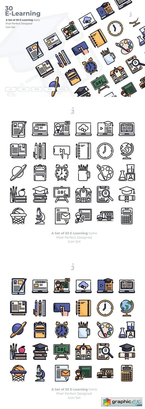 30 E-Learning and Education Icons