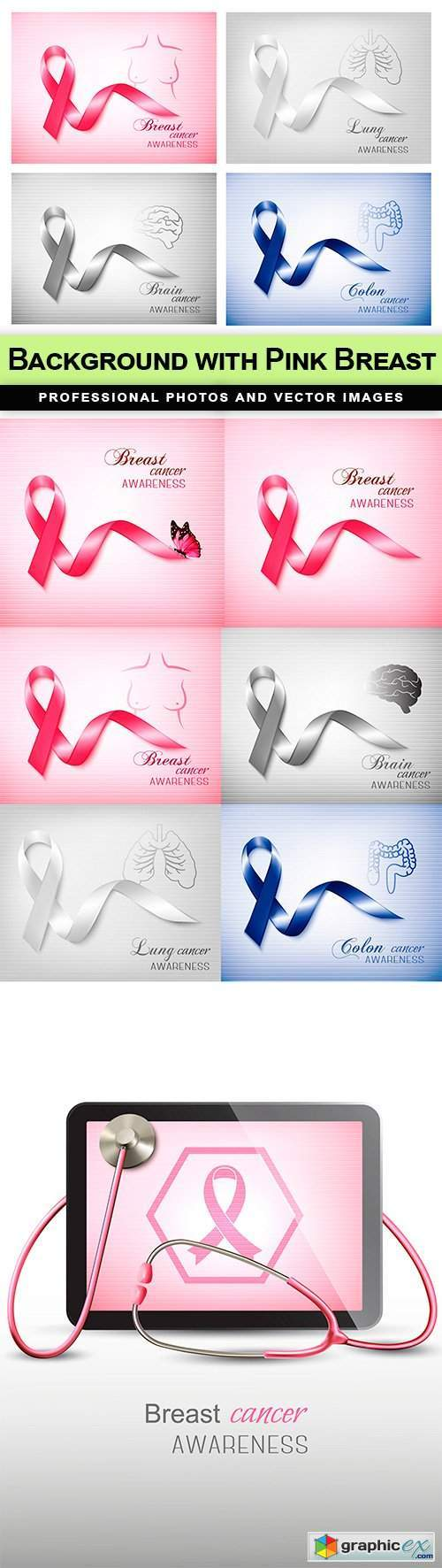 Background with Pink Breast - 8 EPS