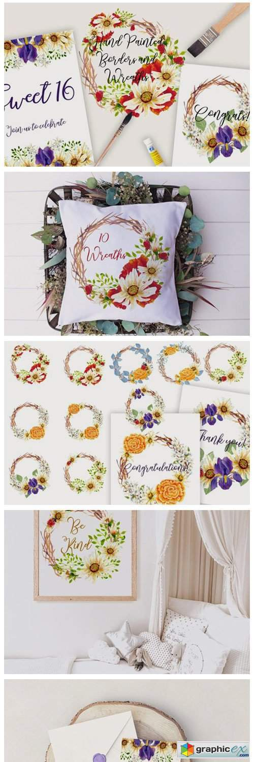 Wild Flowers Borders and Wreaths