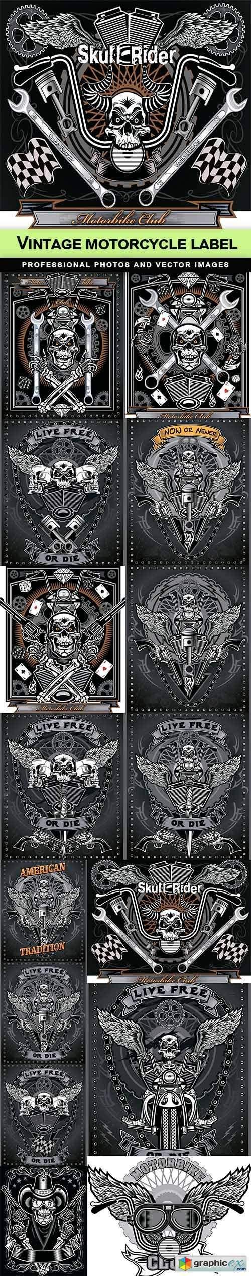 Vintage motorcycle label - 15 EPS