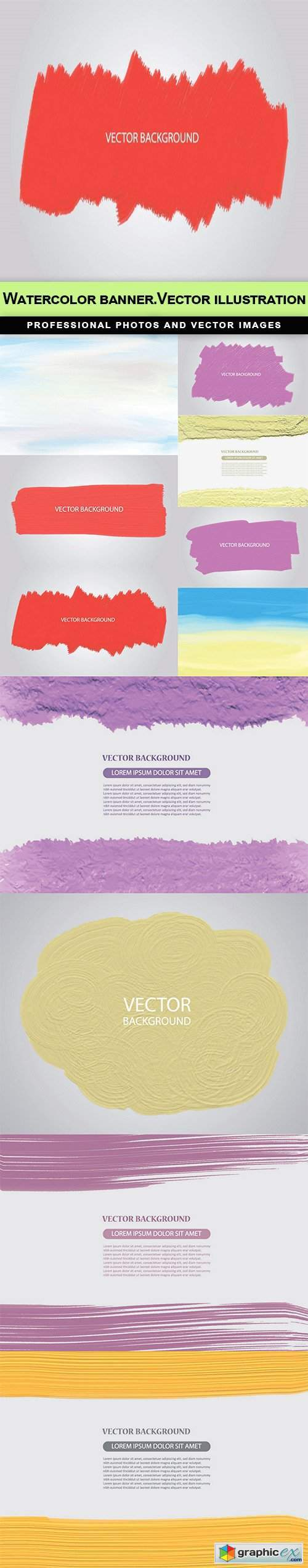 Watercolor banner.Vector illustration - 22 EPS