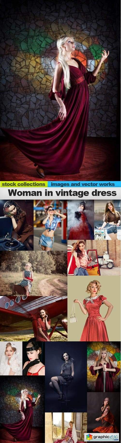 Woman in vintage dress, 15 x UHQ JPEG