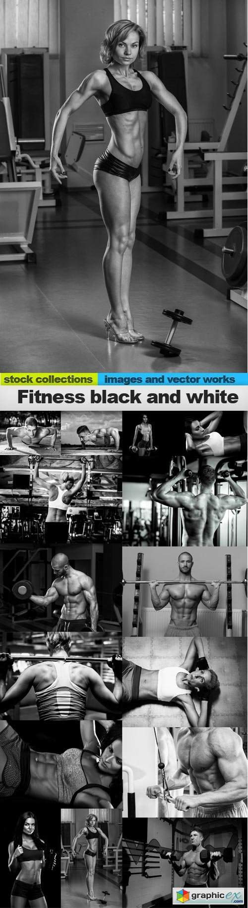 Fitness black and white, 15 x UHQ JPEG
