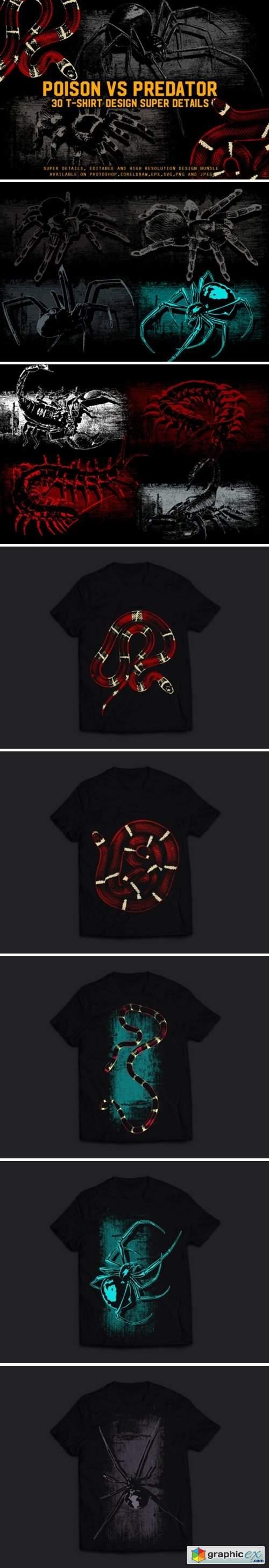 Poison Vs. Predator 30 T-Shirt Design
