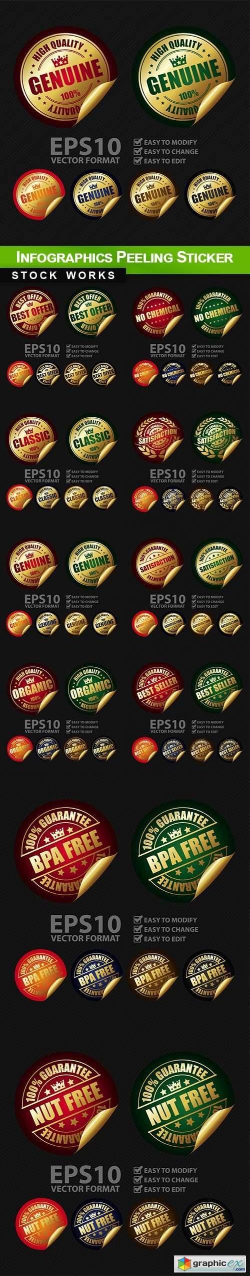Infographics Peeling Sticker 10 EPS