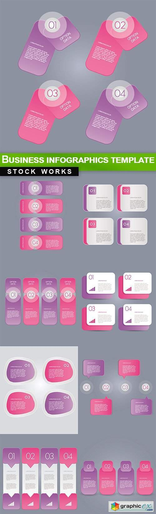 Business infographics template 11x EPS