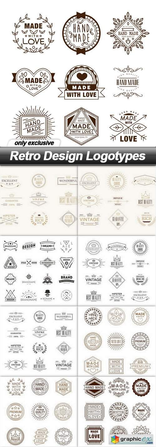 Retro Design Logotypes - 9 EPS