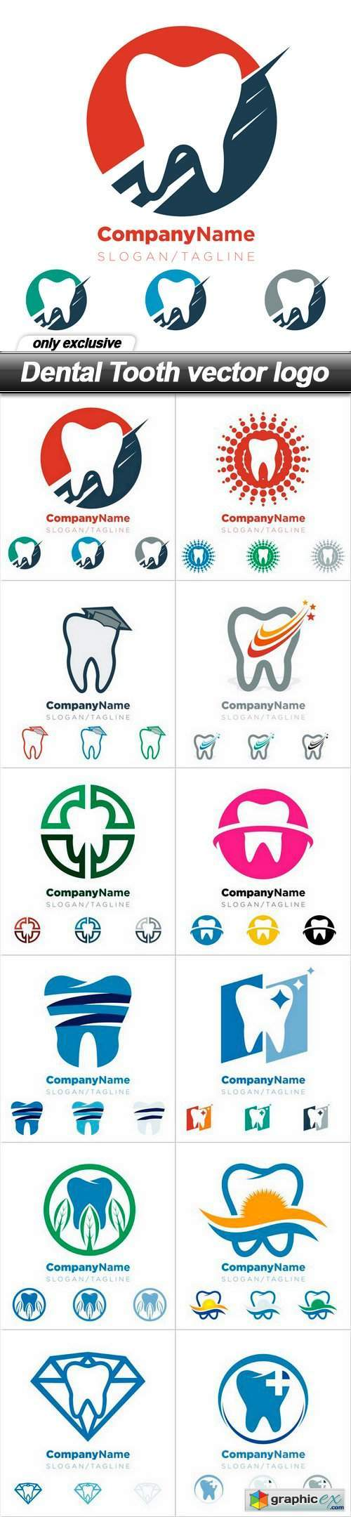 Dental Tooth vector logo - 12 EPS