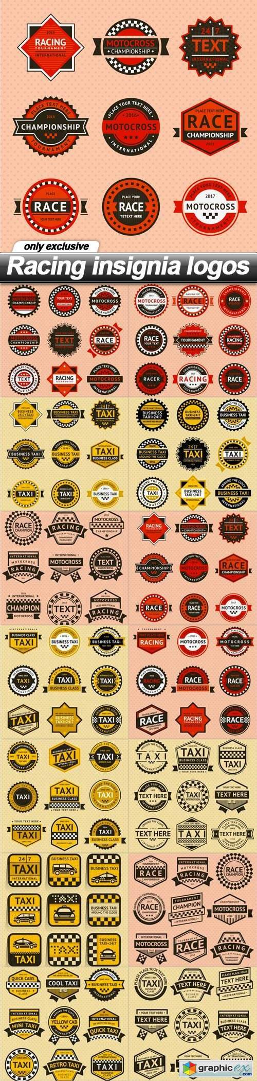 Racing insignia logos - 14 EPS