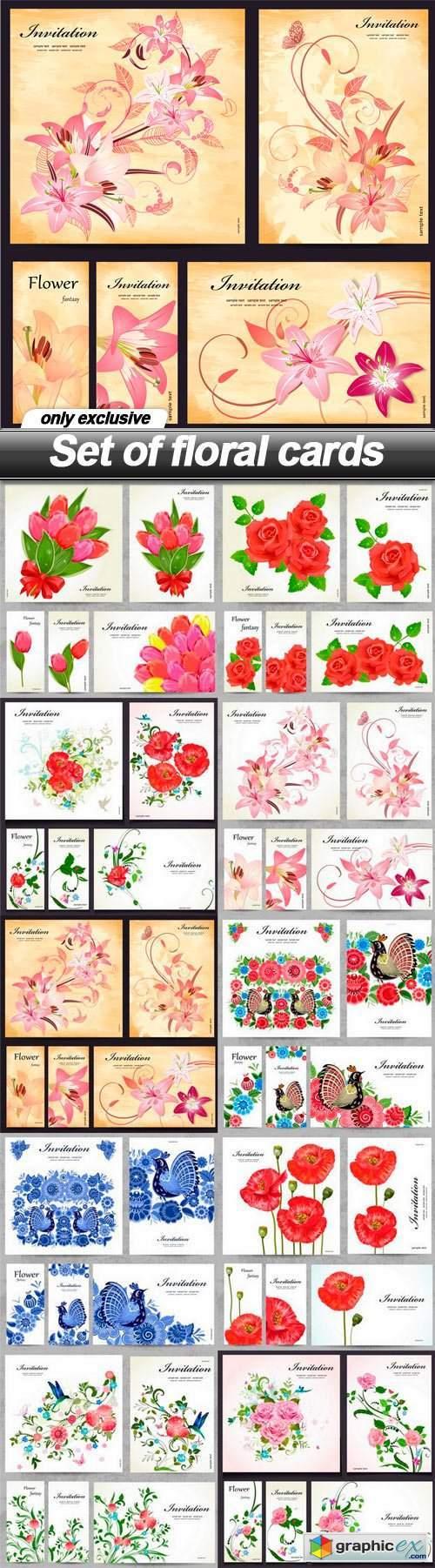 Set of floral cards - 10 EPS