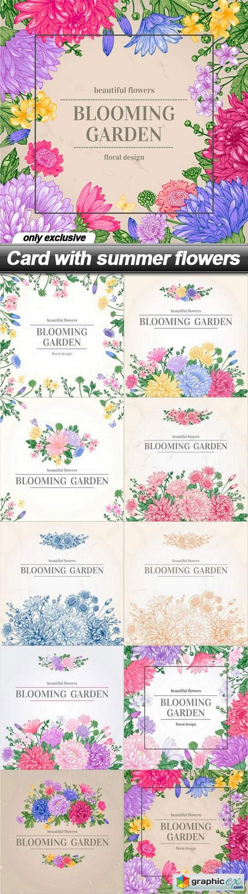 Card with summer flowers - 10 EPS