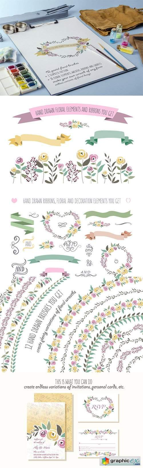 12 Floral Pattern Brushes 326818