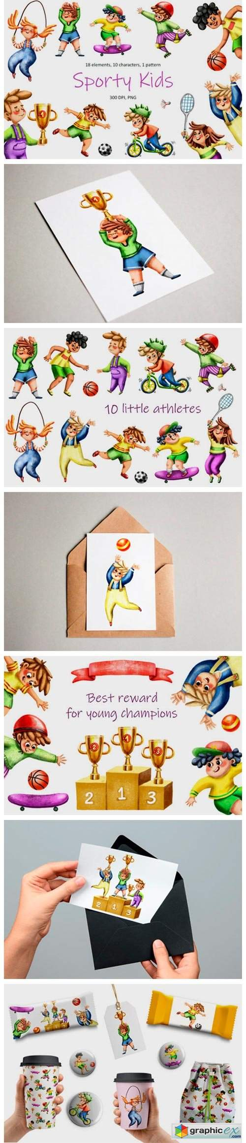 Sporty Kids - Clip Art Set